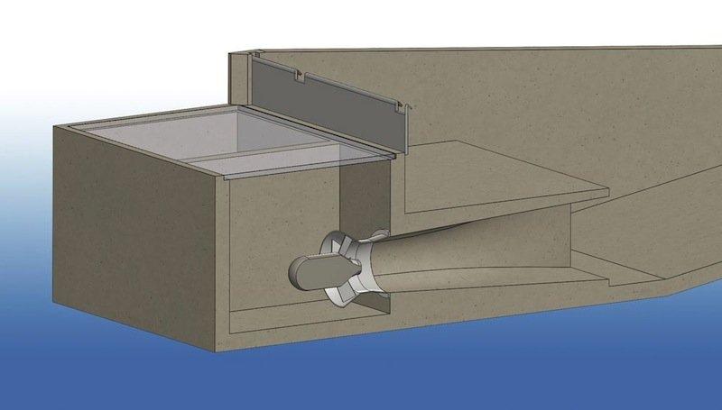 Funktionsskizze des Wasserkraftwerks: Das Wasser stürzt 2,5 Meter in einen Schacht und treibt eine Turbine an. Der Prototyp in Oberbayern soll 600 Haushalte mit Strom versorgen können.