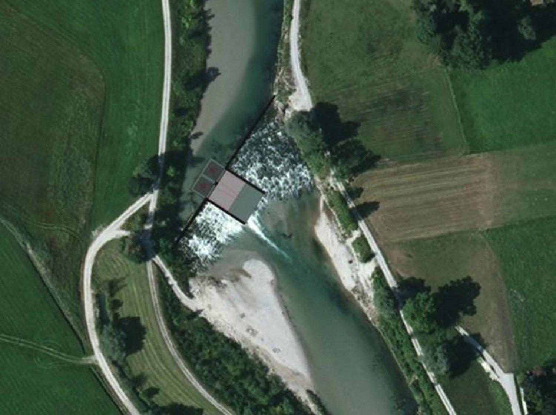 Geplantes Wasserkraftwerk aus Vogelperspektive: Eingezeichnet sind zwei quadratische Schächte, in die das Flusswasser stürzt und Turbinen antreibt.