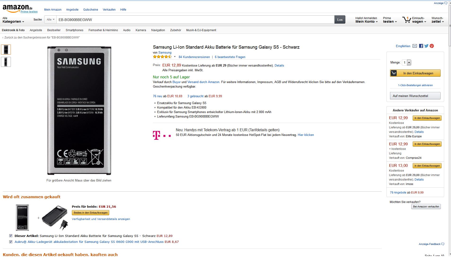 Ingenieur.de hat selbst verglichen: 24,89 Euro kostet der Lithium-Ionen-Akku EB-BG900 mit einer Kapazität von 2800 mAh für das Galaxy S5 im Online-Shop von Samsung. Bei Amazon finden sich Angebote ab 10,69 Euro.
