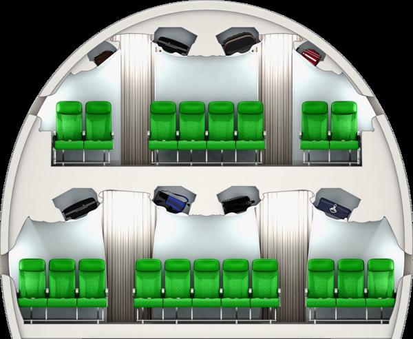 Kabinenquerschnitt A380: Unten ist die künftig optional angebotene, verdichtete Bestuhlung mit elf Sitzen pro Reihe im Hauptdeck der