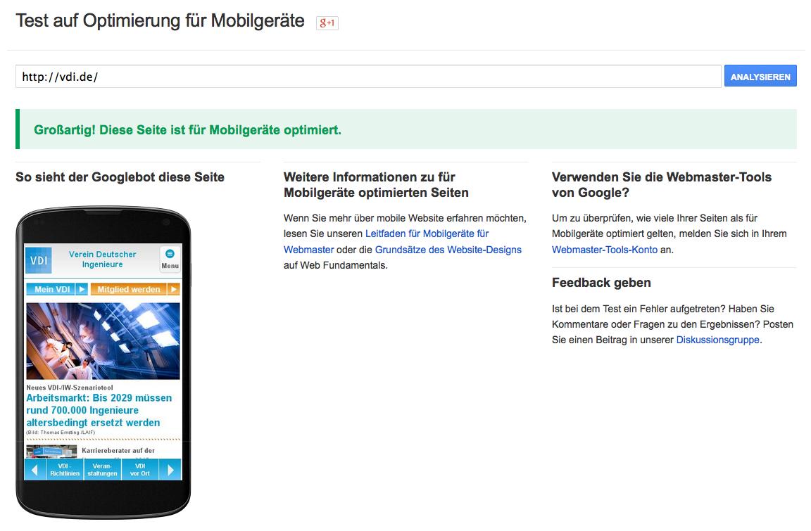 Optimiert auch für mobile Geräte: die VDI-Seite auf einem Smartphone. Sie schneidet im Google-Test sehr gut ab.