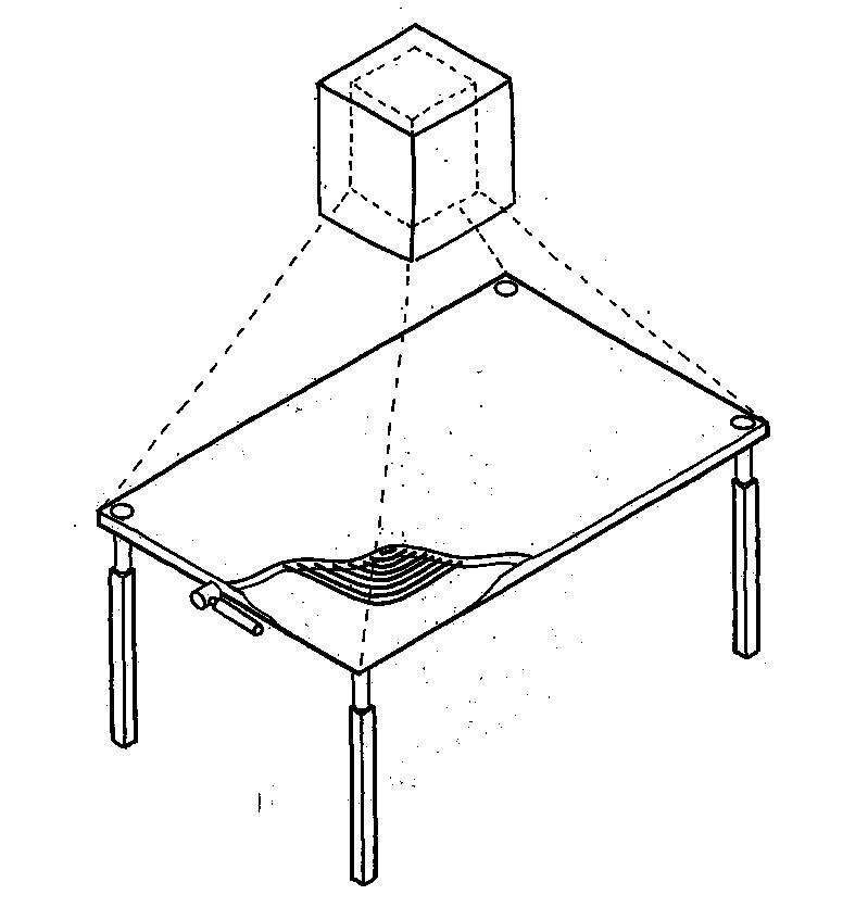 Die Induktionsspule zum Kochen ist direkt in die Arbeitsplatte des Küchentisches integriert.