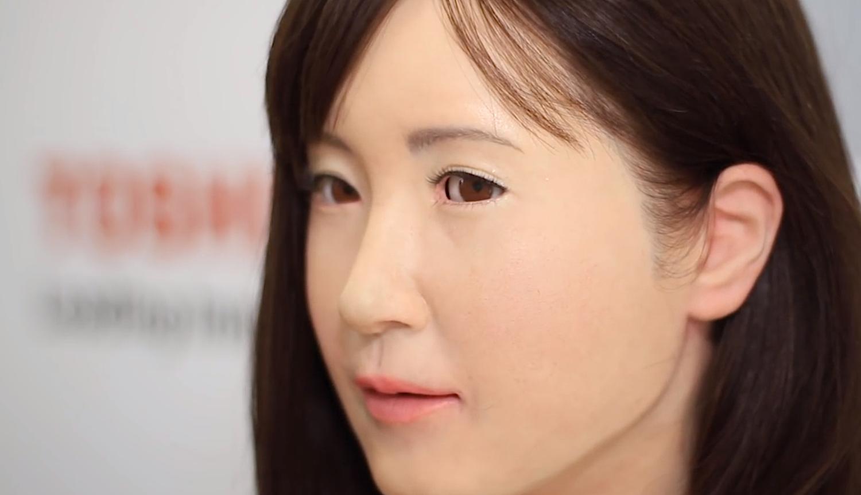 Gesicht der Roboterdame Chihara: Lustig oder unheimlich? Toshiba möchte mit dem Kaufhaus-Versuch herausfinden, wie Menschen auf humanoide Roboter reagieren.