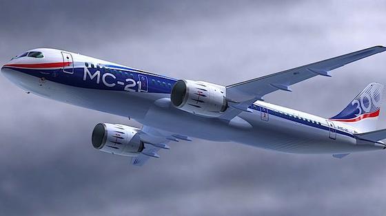 Illustration der neuen Passagiermaschine MS-21 von Irkut: Sie soll 2016 zum Erstflug abheben – mit Triebwerken aus dem 3D-Drucker.