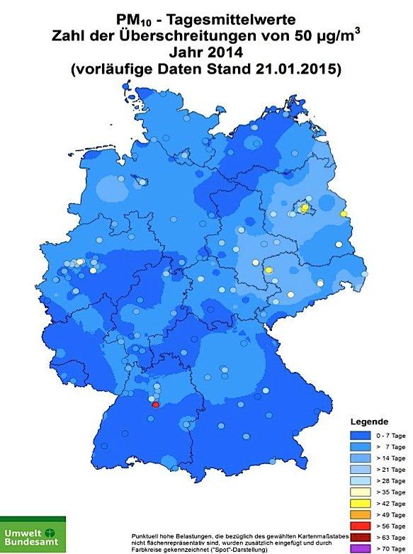 Feinstaubbelastung: Die Karte wurde vom Umweltbundesamt mit Daten der Messnetze der Länder und des Bundes erstellt. Die Auswertung basiert auf vorläufigen, noch nicht abschließend geprüften Daten und wurde zuletzt am 21. Januar 2015 aktualisiert.