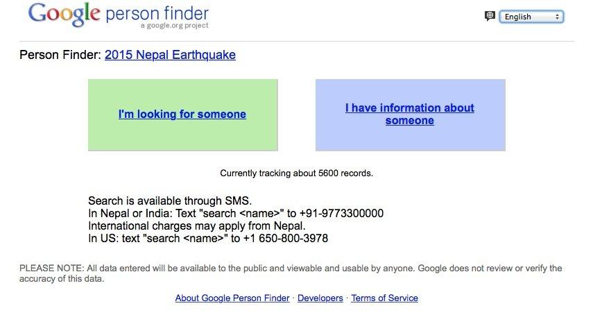 Die Google-App person finder steht nicht immer zur Verfügung sondern wird von Googles Krisenreaktionsteam bei Bedarf freigeschaltet.