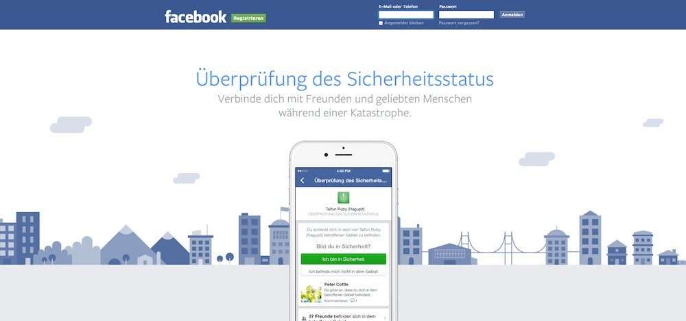 Wurde vor einem halben Jahr vorgestellt und jetzt aktiviert: der Safety Check von Facebook.