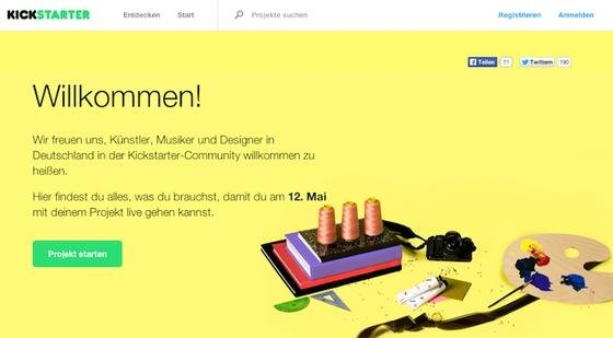 Die Crowdfunding-Plattform Kickstarter startet am 12. Mai mit einer deutscher Version.
