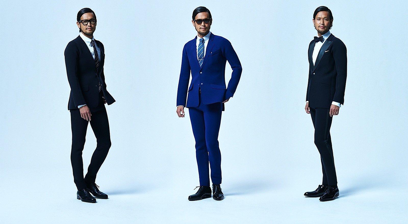 """Den Neopren-Anzug gibt es in drei Designs: Links und in der Mitte dasModell """"Business & Surfing"""", rechts""""Party & Surfing""""."""
