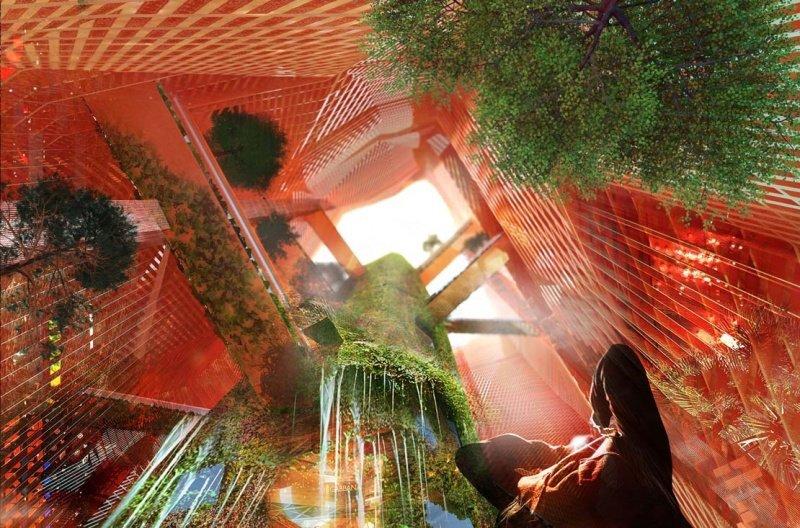 Auf dem zentralen Turm könnten Pflanzen wachsen, so die Idee der Architekten. Eine transparente Außenhaut würde sie vor den hohen Wüstentemperaturen schützen.