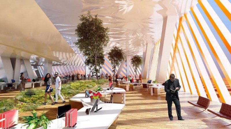 Im Inneren des City Sand Towers: Neben Wohnungen soll es Konferenzräume, Sportmöglichkeiten, Einkaufscenter, ein Museum, Bars und Restaurants geben.