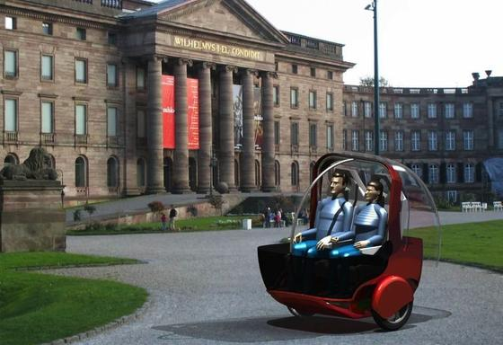 """Beim Start des Projektes """"Elektromobilitätskonzept mit teilautonomen Fahrzeugen"""" (E2V) sah das einachsige Fahrzeug spacig aus."""