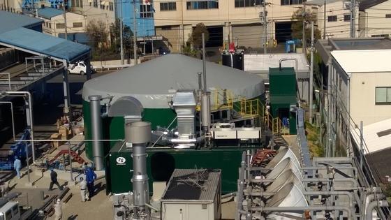 Die Biogas-Pilotanlage in Osaka: Sie verfügt über eine Kapazität von 250 Kilowatt.