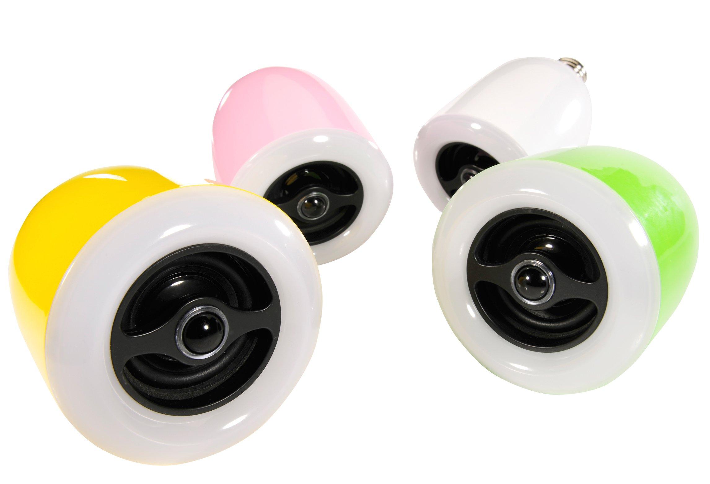 Die LED-Birne mit integriertem Bluetooth-Lautsprecher von Ultron gibt es in gelb, grün, rosa und weiß.
