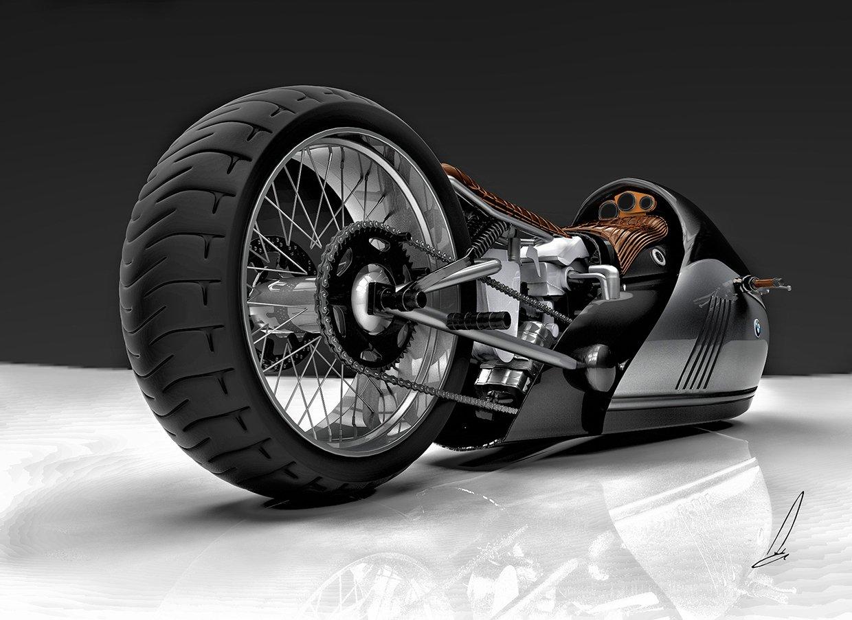 Blick von hinten in die Technik des Entwurfes für die BMW Alpha Concept.