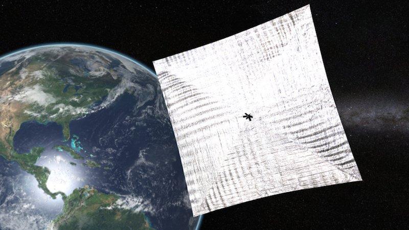 Lichtsegel der Planetary Society: Das 32 Quadratmeter große Segel soll mit Lichtteilchen der Sonne Antrieb erzeugen.
