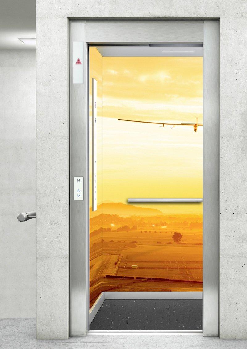 Das ist ein Aufzug vom Typ Schindler 3300 Solar. Dieser wird in dem Neubauprojekt Quartier 452 in Norderstedt gleich sieben Mal verbaut.