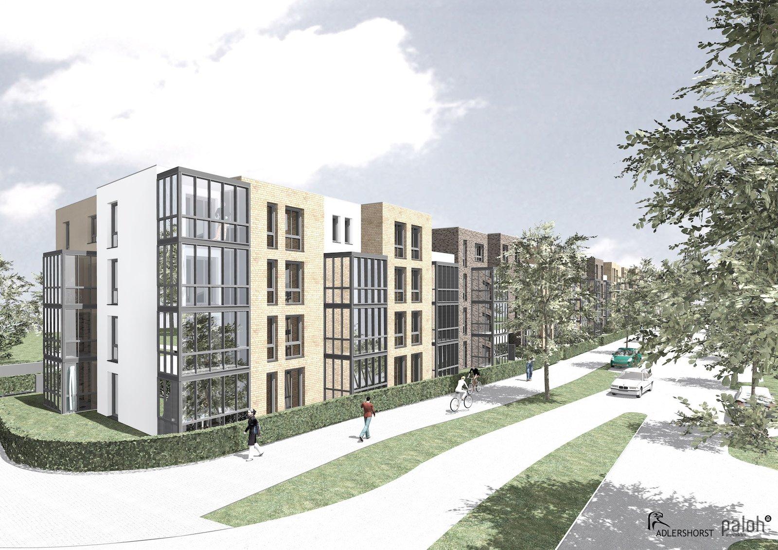 So soll Quartier 452 in Norderstedt einmal aussehen wenn es fertig ist. Dann wird es 108 Wohnungen bieten, die alle barrierearm und hochwertig ausgestattet sind. Und sie sind über die sieben Solarfahrstühle zu erreichen.