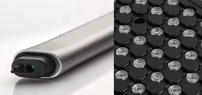 Das Optical Translation Measurement (OTM) erfasst die Handbewegung auf praktisch jeder Oberfläche in einem breiten Dynamikbereich. Ein kompakter kostengünstiger Sensor an der Spitze des digitalen Stiftes ermöglicht das.