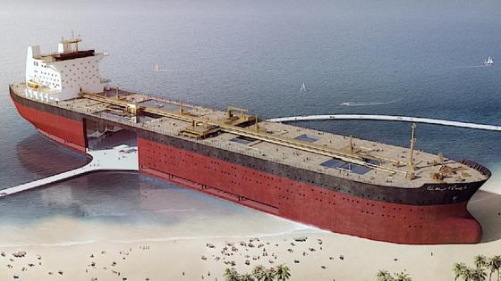 Skizze eines umgebauten Öltankers: Designer Chris Collaris will auch gleiche eine Straße anbinden, um das Parkhaus im Inneren zu erreichen.