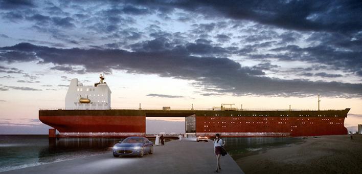 Einkaufszentrum in der Abenddämmerung: Die umgebauten Tanker könnten für die Golfstaaten zum Prestigeprojekt werden, so die Hoffnung des Designers.