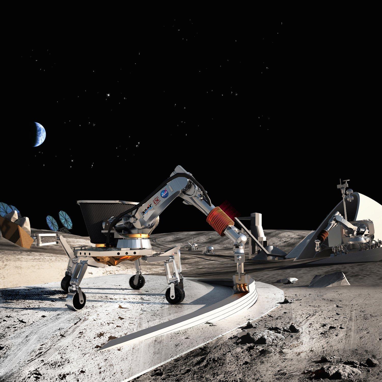 Illustration eines 3D-Druckroboters: So stellt sich die Nasa den Bau von Häusern auf Mond und Mars vor.
