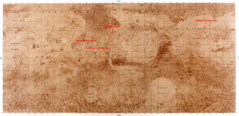 Karte des Mars: Als Teil der Wettbewerbs sollen sich die Teilnehmer für einen Standort für ihre Behausung entscheiden.