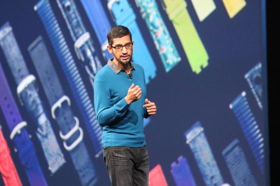 Google-Produktchef Sundar Pichai auf der Google I/O: Zur der Entwicklerkonferenz sind rund 6000 Teilnehmer nach San Francisco gekommen.