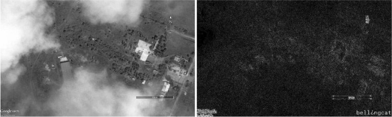 Fehlerstufenanalyse eines russischen Satellitenbildes: Die Wolken (Bereiche A und E) erscheinen in der Darstellung der Kompressionsstufe (rechts) dunkler. Das deutet auf digitale Modifikation hin.