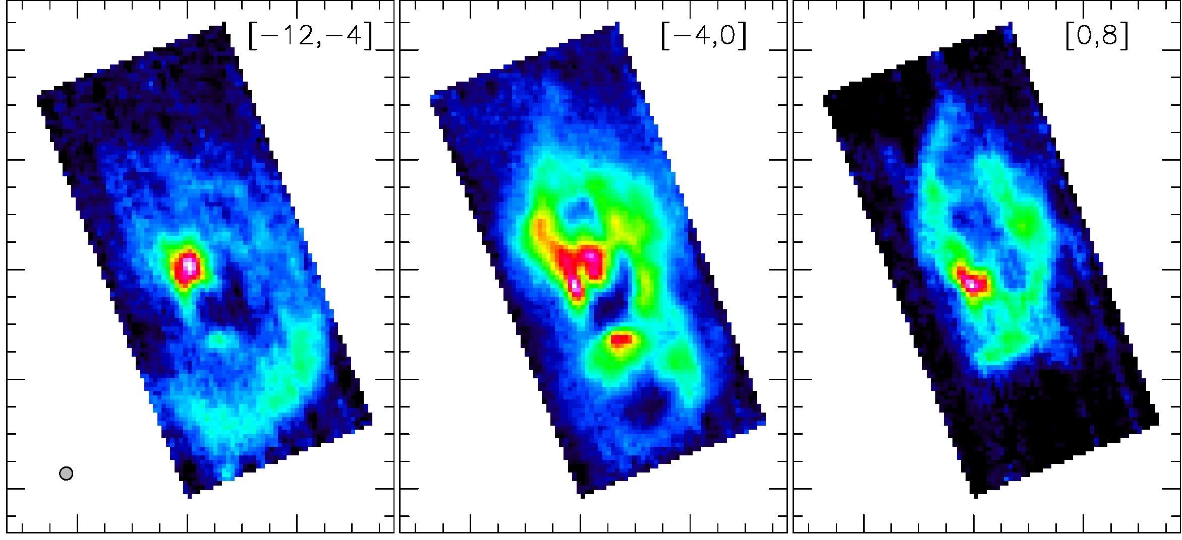 Bilder des Ferninfrarot-Spektrometers: Sie zeigen die Kohlenstoffverteilung im Nebel Sharpless 106.