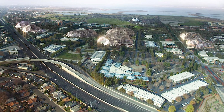 Geplante Konzernzentrale von Google: Vier riesige Gebäude sollen Platz für 20.000 Mitarbeiter bieten. Baumaschinen namens Crabots sollen bei Bedarf kurzerhand umbauen.