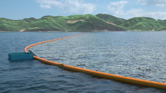 Die Idee des jungen Holländers: Riesige Barrieren in V-Form sollen Plastikmüll einfangen und zu einer Plattform leiten.