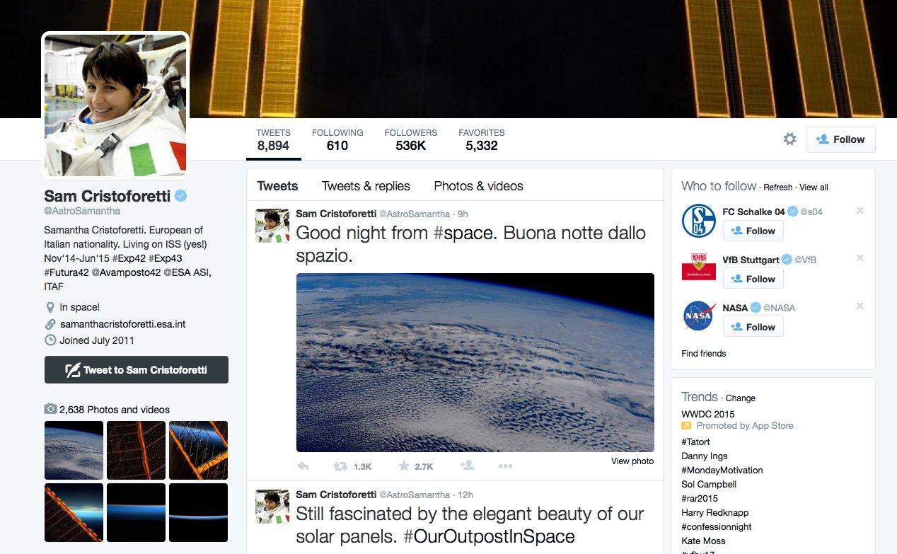 Fast täglich twittert AstronautinSamantha Cristoforetti von ihrer Arbeit im All auf Twitter.