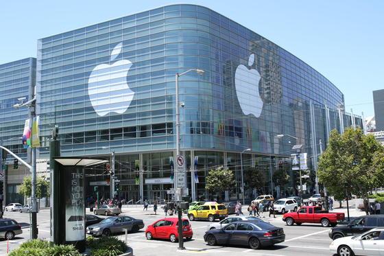 Das Konferenzzentrum Moscone Center West in San Francisco ist Ort der Apple-Entwicklerkonferenz 2015. Apple will am Abend den Start seines Musik-Streamingdienstes bekannt geben.