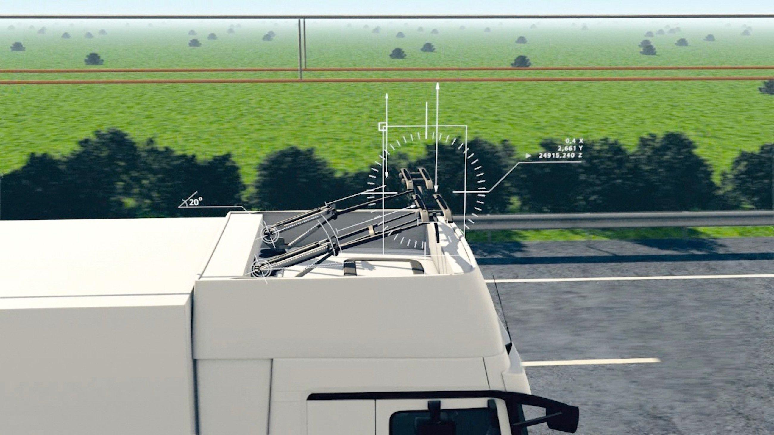 Die Stromabnehmer können bis zu einer Geschwindigkeit von 90 km/h automatisch an das Oberleitungssystem an-und abbügeln. Die Bügel gleichen zudem alle Bewegungen des Fahrzeuges aus. Ist die Oberleitungsstrecke zu Ende, werden die Stromabnehmer eingeklappt, der Lkw schaltet auf Batteriebetrieb oder Gasantrieb um.