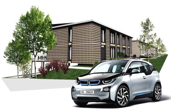 Eco-Solar-Modulhaus: Zum Konzept gehört auch ein Elektromobil für jeden Haushalt. Die Batterien des E-Autos werden vom ECO-Solar-Modulhaus ebenfalls mit Energie gespeist, also mit grünem Strom versorgt.