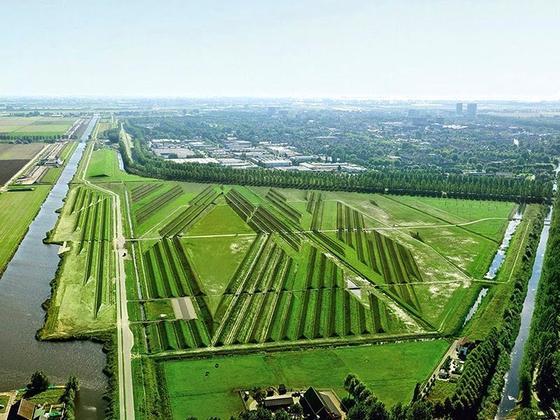 Der Landschaftspark Buitenschot am Flughafen Schiphol aus der Luft: Die Wälle, die den Fluglärm bremsen und umleiten, bedecken bereits eine Parkfläche von 33 Hektar. Der Park mit seinen Lärmwellen soll auf 60 Hektar erweitert werden.