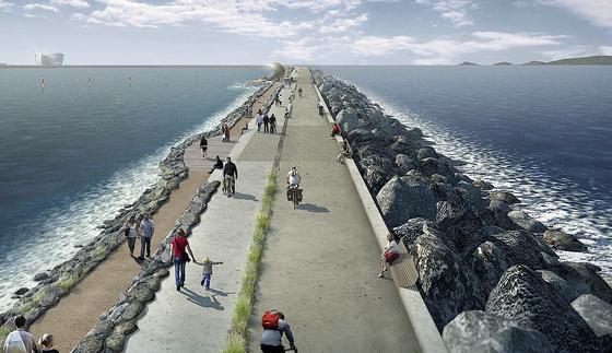Illustration der Tidal Lagoon: Der zehn Kilometer lange Seewall soll in der Nähe der südwalisischen Stadt Swansea entstehen.