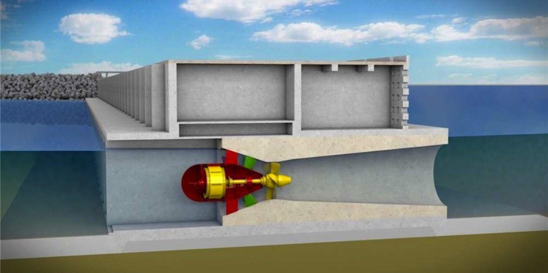 Turbine unter der Wasseroberfläche: Die Rotorblätter lassen sich je nach Wasserflussrichtung verstellen.