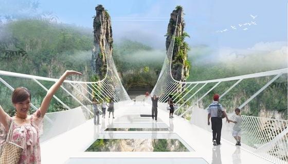 So hat ArchitektHaim Dotan aus Tel Aviv die höchste und längste Glasbodenbrücke der Welt illustriert. Dabei soll sie die Last von viel mehr Menschen tragen können: Auf der knapp 430 m langen und 6 m breiten Konstruktion sollen 800 Personen Platz haben.