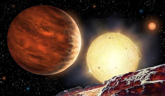 Illustration des entdeckten Planeten Wasp-142b: Er ist tausend Lichtjahre von der Erde entfernt, hat die Größe des Jupiters und umkreist seinen Stern in nur zwei Tagen.