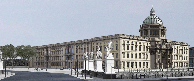 Berliner Stadtschloss von der Nord-West-Seite: Der Grundstein des ursprünglichen Gebäudes wurde 1443 gelegt.