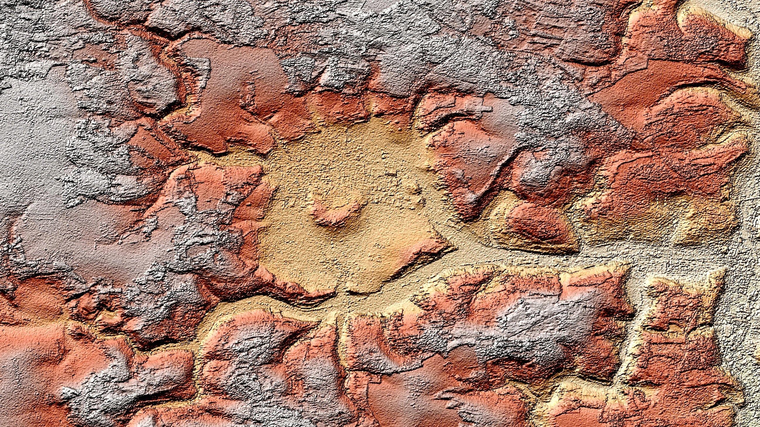 Das Steinheimer Becken in Baden-Württemberg hat einen deutlich sichtbaren Zentralberg. Beim Radarblick aus dem All mit den Satelliten TerraSAR-X und TanDEM-X hebt sich der Krater deutlich von den umliegenden Landwirtschafts- und Waldflächen ab.