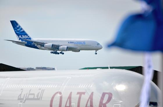 Ankunft eines A380 am Montag auf der Paris Air Show.