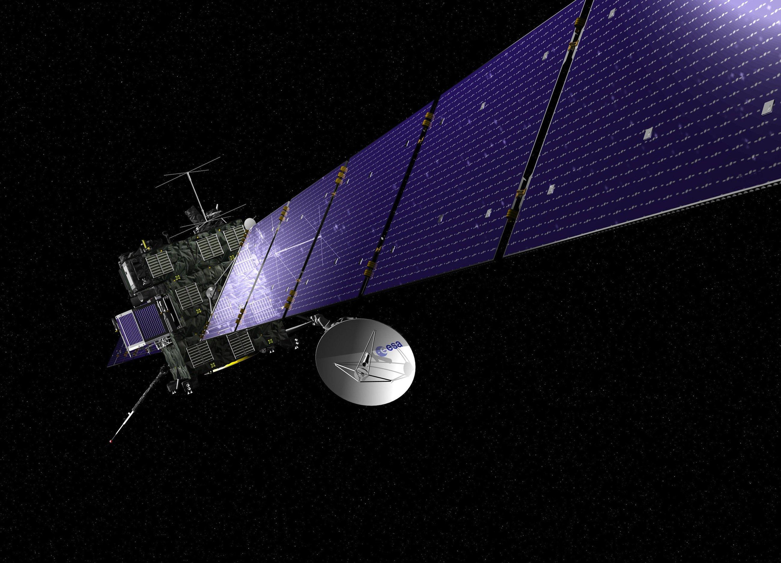 DieRaumsonde Rosetta, die um den Kometen Tschuri kreist, fängt die Signale des Landers Philae auf und sendet die Daten zur Erde.
