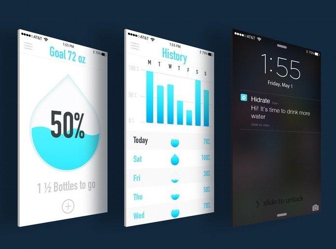 Die Smartphone-App versorgt den Benutzer mit Statistiken: Ein großer Wassertropfen mit Prozentangabe zeigt, wie weit er von seinem täglichen Trinkziel entfernt ist.