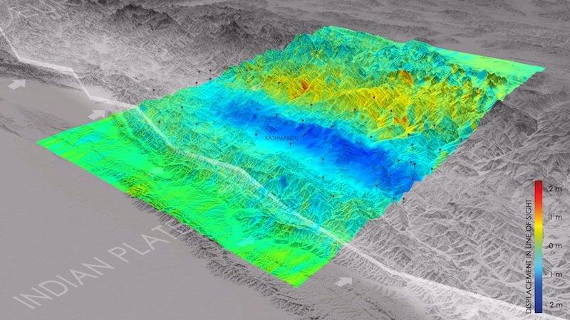 Das Deutsche Zentrum für Luft- und Raumfahrt(DLR) berechnete die Verschiebungen durch das Erdbeben in Nepal aus Satellitendaten.