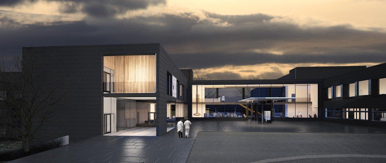 Modulkrankenhaus in Norwegen: Auf 16.300 m2entstehen eine Notaufnahme, Operations- und Kreißsäle, Radiologielabore und 54 Betten sowie eine chirurgische, medizinische und psychiatrische Poliklinik.