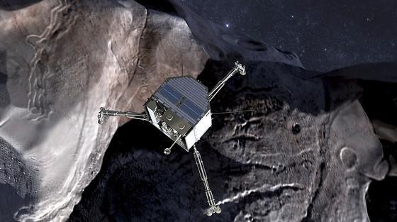 Animation des Landeanfluges des Roboters Philae auf den Kometen Tschuri: Philae hat nun zum dritten Mal Kontakt mit dem DLR-Kontrollzentrum in Köln aufgenommen und Daten zur Erde geschickt.