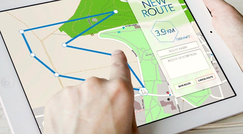Auf dem Tablet kann der Benutzer eine Route festlegen, die Yeair autonom fliegt.